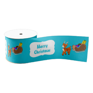 Cute Little Scrucffy Reindeer Christmas Ribbon Grosgrain Ribbon