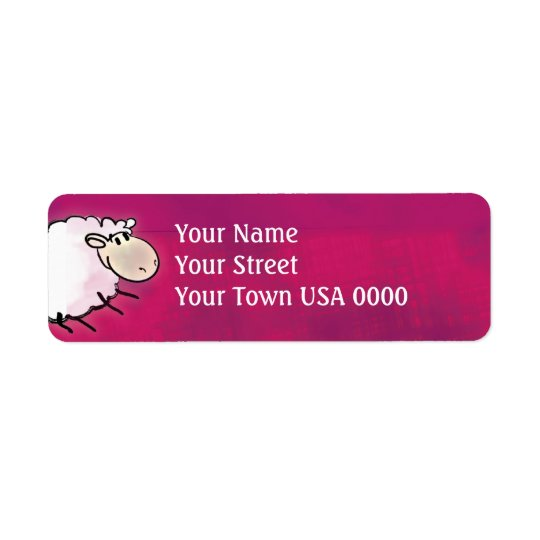 cute little sheep on dark pink return address label
