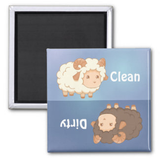 Cute Little Sheep Ram Clean Dirty Dishwasher Magnet