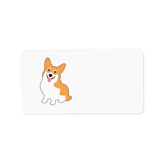 Cute Little Smiling Corgi Puppy Label