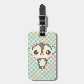 cute little snow day penguin cartoon luggage tag