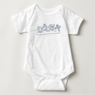 Cute Little Snowman at Holy Night Baby Bodysuit
