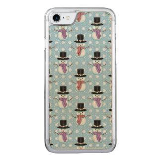 Cute Little Snowmen Pattern Carved iPhone 7 Case