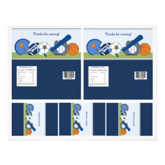Cute Little Sports Player Candy Bar Labels 2 sizes Custom Flyer
