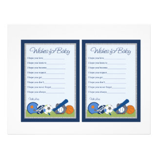 "Cute Little Sports Player ""Wishes for Baby"" notes 21.5 Cm X 28 Cm Flyer"