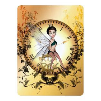 Cute little steampunk fairy 14 cm x 19 cm invitation card