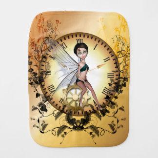 Cute little steampunk fairy on a clock burp cloth