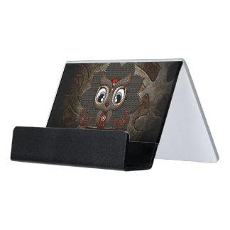 Cute little steampunk owl desk business card holder