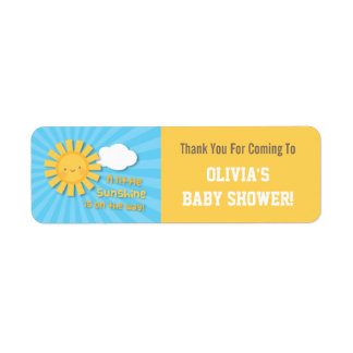 Cute Little Sunshine Baby Shower Thank You Labels