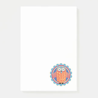 Cute Little Tribal Owl in Bright Colors Post-it® Notes