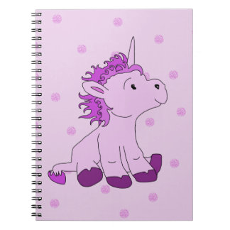 Cute Little Unicorn on a Pink background Spiral Notebook