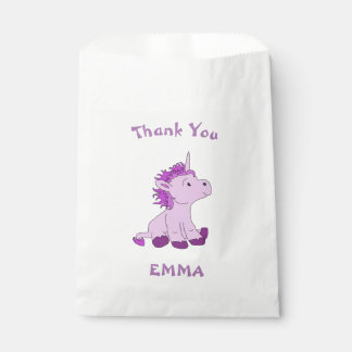 Cute Little Unicorn Thank You Name Favour Bag