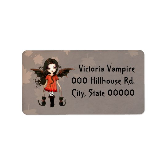 Cute Little Vampire and Cats Halloween Label