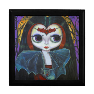Cute Little Vampire Girl with Bat & Moon Large Square Gift Box