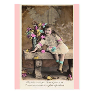 Cute Little Victorian French Girl postcard