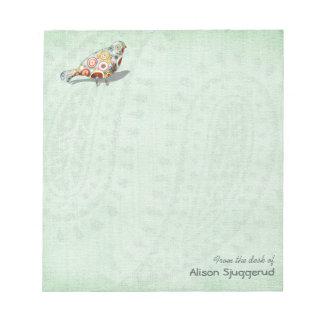 Cute Little Whimsical Bird Paisley Green Custom Notepad