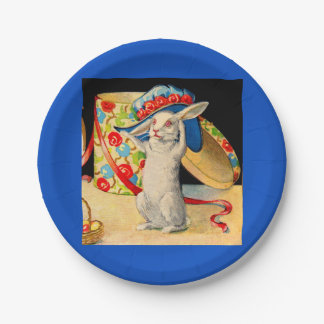 cute little white bunny wearing big hat paper plate