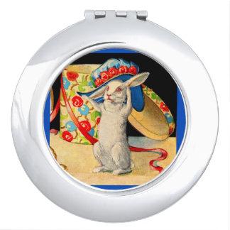 cute little white bunny wearing big hat vanity mirror