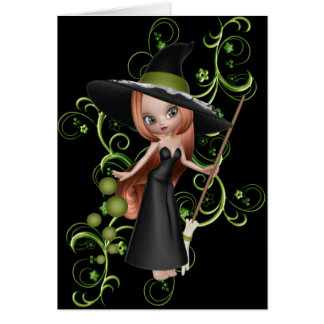 Cute Little Witch 3 Halloween Greeting Card