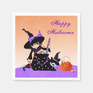 Cute Little Witch, Halloween Paper Napkins