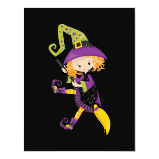 Cute Little Witch on Broomstick Card