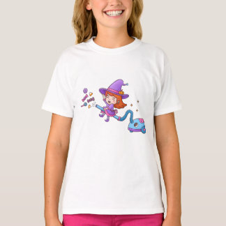 Cute Little Witch on Vacuum Cleaner Girls Tee
