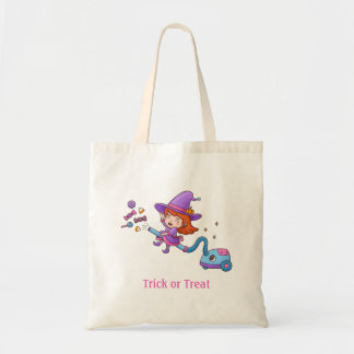 Cute Little Witch on Vacuum Cleaner Girls Tote Bag