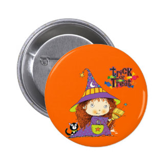 Cute Little Witch Trick or Treat Button