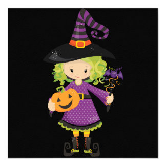 Cute Little Witch with Pumpkin Card