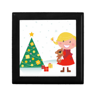 Cute little xmas girl red gift box