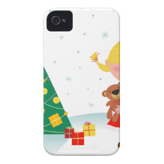 Cute little xmas girl red iPhone 4 covers