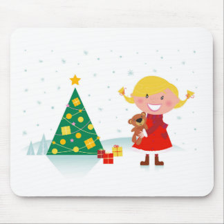 Cute little xmas girl red mouse pad