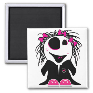 cute little zombie girly square magnet