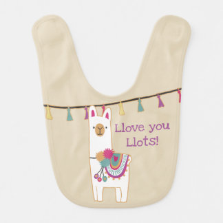 Cute llama and tassels w/ custom background color bib