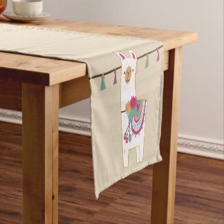 Cute llama and tassels with custom background short table runner