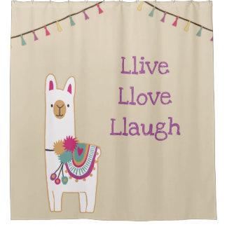 Cute llama design with custom background color shower curtain