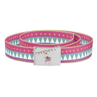 Cute llama design with patterned background belt