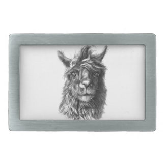 Cute Llama portrait Rectangular Belt Buckle