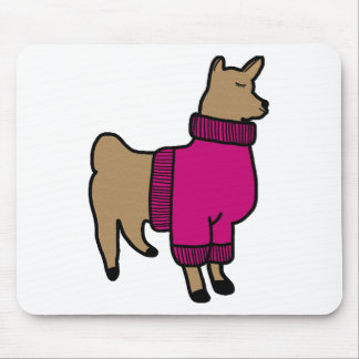 Cute Llama Wearing a Sweater Mouse Pad