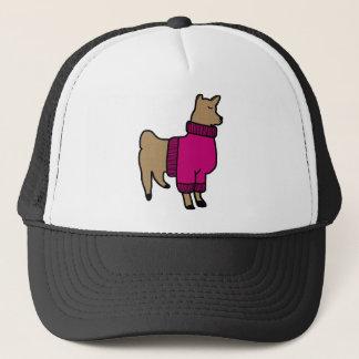 Cute Llama Wearing a Sweater Trucker Hat