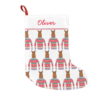Cute Llama Wearing Funny Ugly Christmas Sweater Small Christmas Stocking