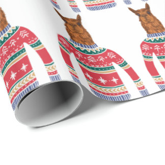 Cute Llama wearing Funny Ugly Christmas Sweater Wrapping Paper