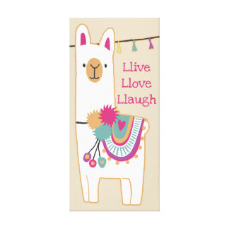 Cute llama with custom background color canvas print