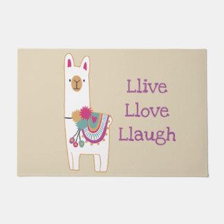 Cute llama with custom background color doormat