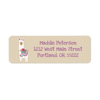 Cute llama with custom background color return address label
