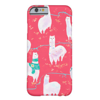 Cute llamas Peru illustration red background Barely There iPhone 6 Case