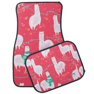 Cute llamas Peru illustration red background Car Mat