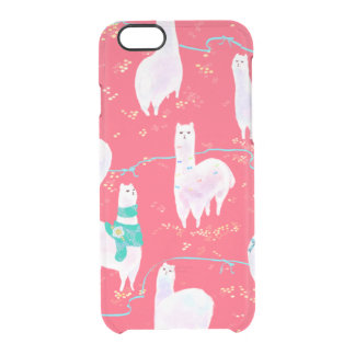 Cute llamas Peru illustration red background Clear iPhone 6/6S Case