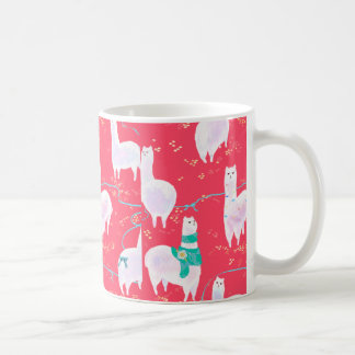 Cute llamas Peru illustration red background Coffee Mug