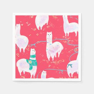 Cute llamas Peru illustration red background Disposable Napkins